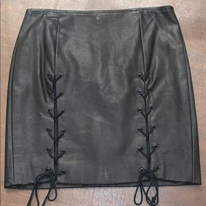 Olivaceous leather tie up skirt